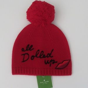 Kate Spade NY All Dolled Up Red Pom Beanie Hat